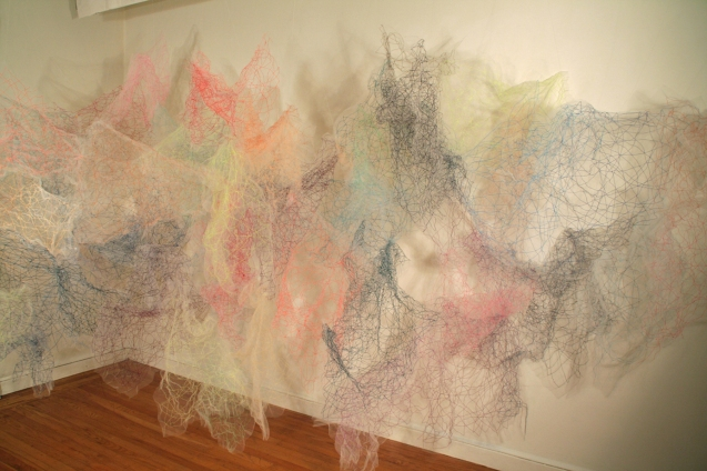 """Mind/Ocean"" (View 1) 20'L x 8'H x 6'D, Polyester tulle, thread and monofilament wire, 2017"