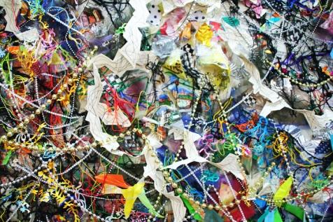 """Hidden Inheritance,"" (Detail 1) Paper, plastic bags, string, tulle, garland, 7'H x 10'L x 3″D, 2014"