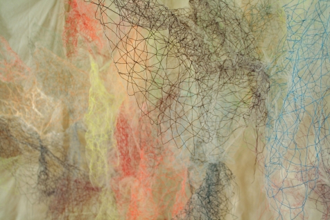 "Mind/Ocean"" (Detail 2) 20'L x 8'H x 6'D, Polyester tulle, thread and monofilament wire, 2017"