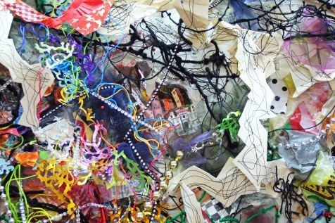 """Hidden Inheritance,"" (Detail 2) Paper, plastic bags, string, tulle, garland, 7'H x 10'L x 3″D, 2014"