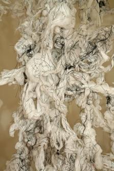 """Constellation"" (Detail 2) Cotton Gauze and Thread, 8'H x 19.5′ L x 9'D, 2016"