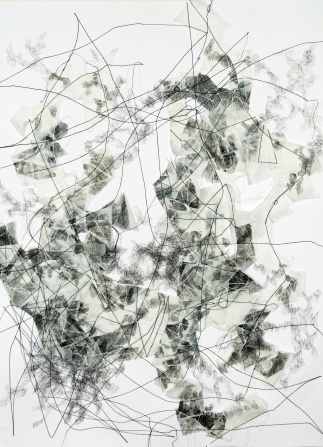 """""""Flux 2,"""" (1 of 3), 2017, Thread, Dura-Lene, and paper, each measuring 14""""H x 11""""W"""