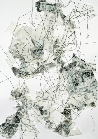 """""""Flux 2,"""" (2 of 3), 2017, Thread, Dura-Lene, and paper, each measuring 14""""H x 11""""W"""