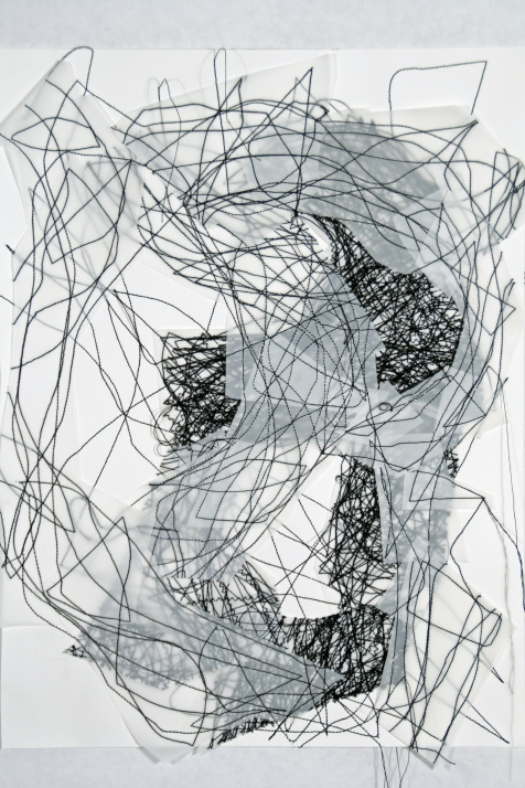 """8. """"Flux,"""" (series of 8), 2017, Thread, Dura-Lene, and paper, each measuring 14""""H x 11""""W."""