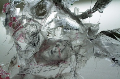 """Links,"" (Detail 1) Plastic bags, thread, paint, jewelry and plants, 6'H x 9'L x 1'D, 2011"