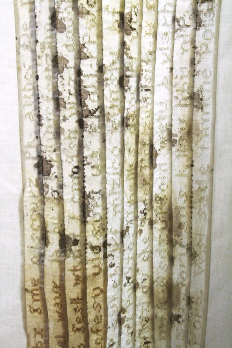 """Lost Language I,"" (Midview 1) 2011/1995, Cotton, thread and blood, 6'H x 3'W x 2'D."