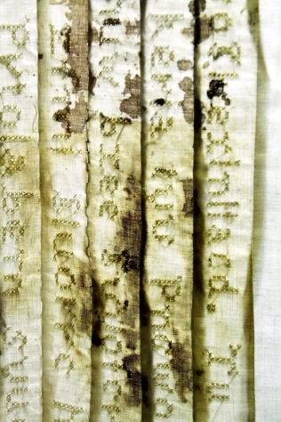 """""""Lost Language I,"""" (Detail 1) 2011/1995, Cotton, thread and blood, 6'H x 3'W x 2'D."""