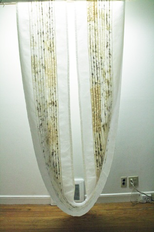 """Lost Language I,"" (Overview) 2011/1995, Cotton, thread and blood, 6'H x 3'W x 2'D."