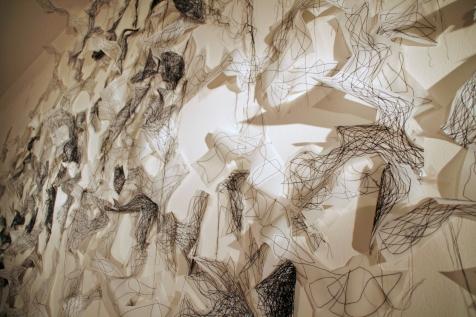 "5. ""Midnight Flight,"" (Detail) 2016, Dura-Lene plastic and thread, 9'H x 20'W x 6""D."