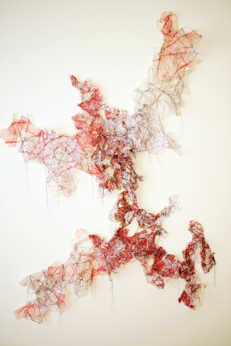 "1. ""Recollections,"" (Overview) 2016, Plastic bags and thread, 4'6""H x 3'9""W."