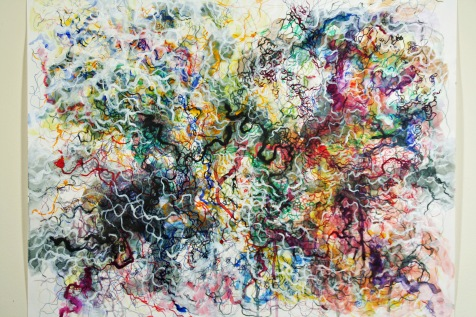 """""""Stream,"""" (Overview) 2014, Paint and ink on paper, 19""""H x 24""""W."""
