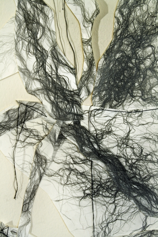 """4. """"Fractiles,"""" (Detail) 2016, Graphite on paper with sewing, 5'H x 15'L."""