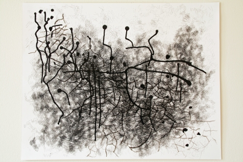 "2. ""Pathway,"" (series of 2), 2014, Ink on paper, each measuring 19""H x 24""W."