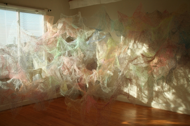 """Mind/Mountain"" (Overview), 15'W x 7'H x 9'D, Polyester tulle, thread and monofilament wire, 2018."