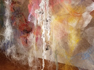"""Mind/Forest I"" (Detail 2) 2018, Polyester tulle, produce netting, thread, duralene plastic, plastic rope, and cotton gauze, 13'L x 18'W x 9'H."