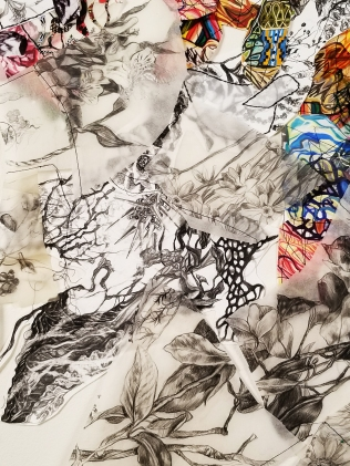 """Flight of Thought"" (Detail 2) 2018, Gauche, ink and graphite on paper, transparency film and thread, 3'H x 2'W."